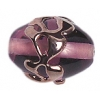 Glass Lamp Bead 14x10mm Oval Amethyst/Copper